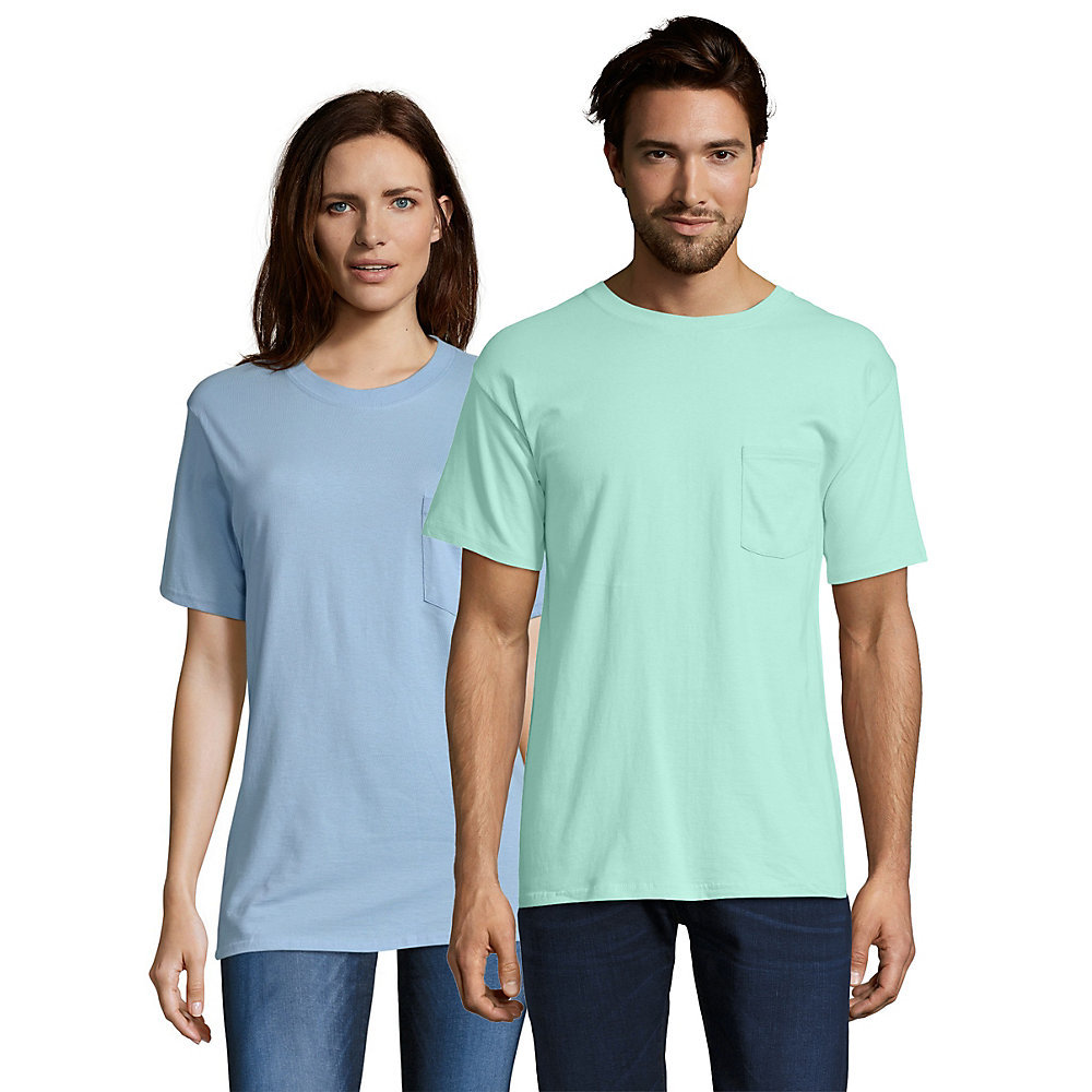 Hanes beefy t adult pocket t shirt 5190 from for Mint color polo shirt