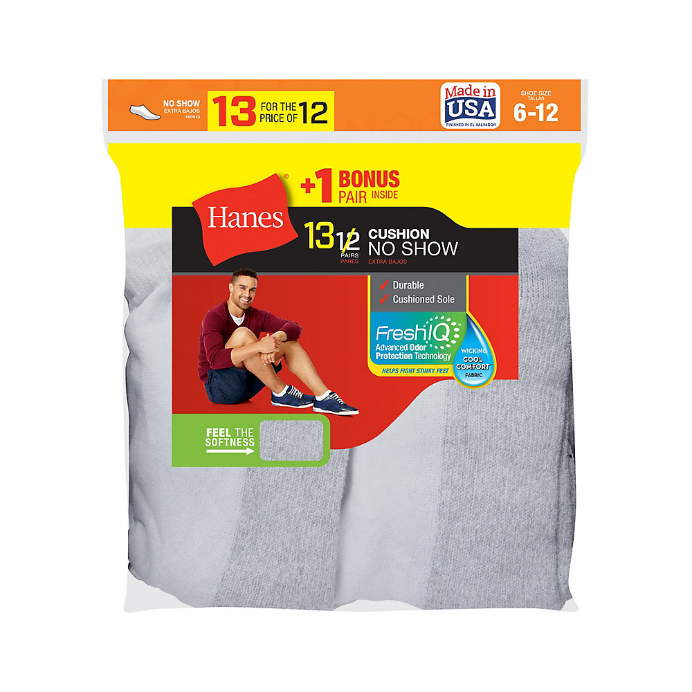 Hanes Mens Cushion No Show Socks 13 Pack 190v13 20 43