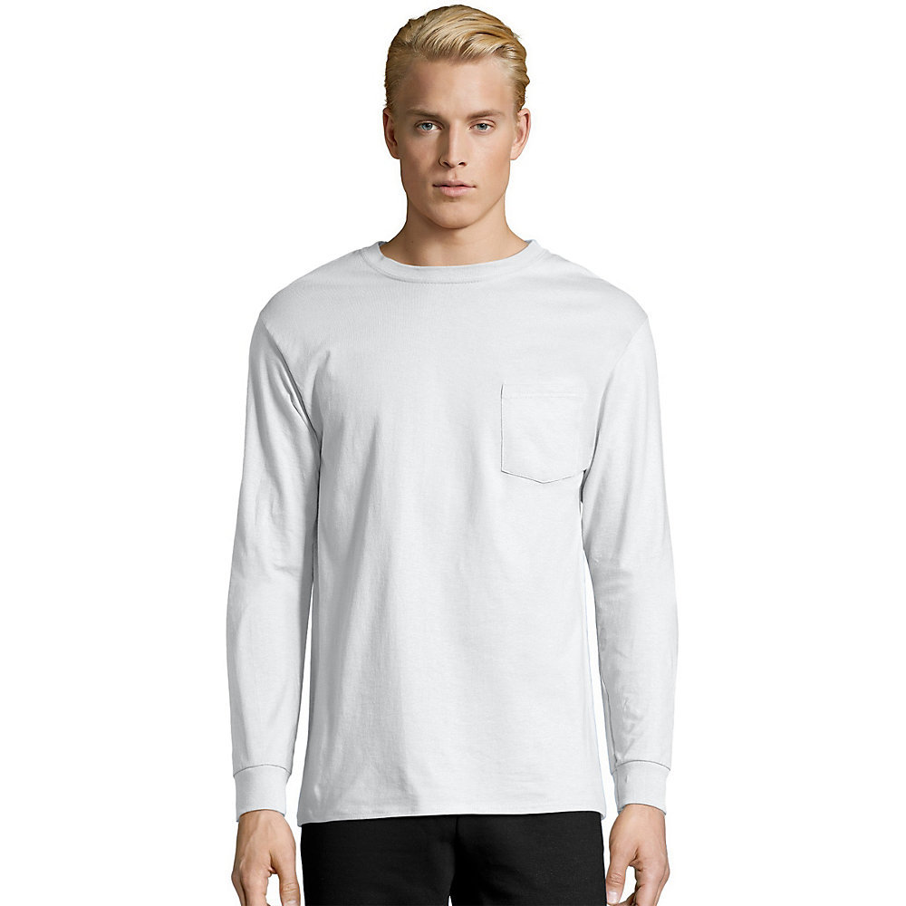 Hanes Mens TAGLESS Long-Sleeve T-Shirt with Pocket 5596 [from ...