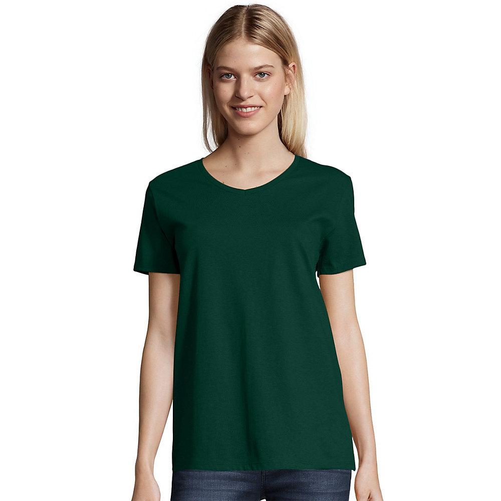 Hanes relaxed fit womens comfortsoft v neck t shirt 5780 for V neck black t shirt women s