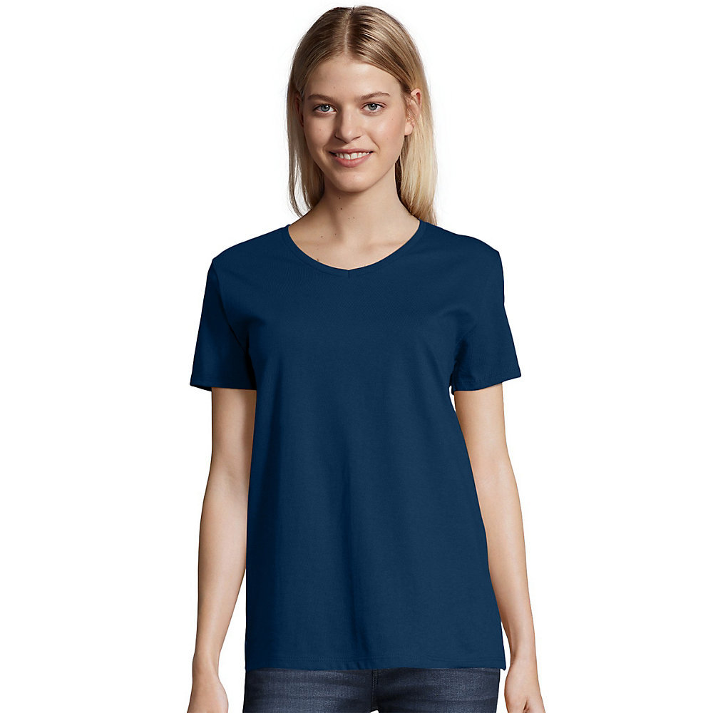 Hanes relaxed fit womens comfortsoft v neck t shirt 5780 for Hanes t shirt underwire bra