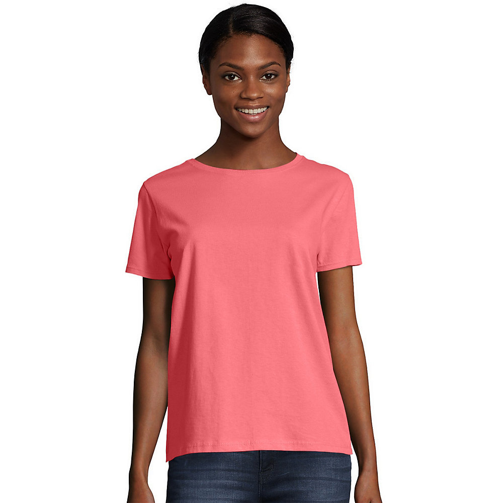 657df5ec Hanes Womens Relaxed Fit Jersey ComfortSoft Crewneck T-Shirt 5680 ...
