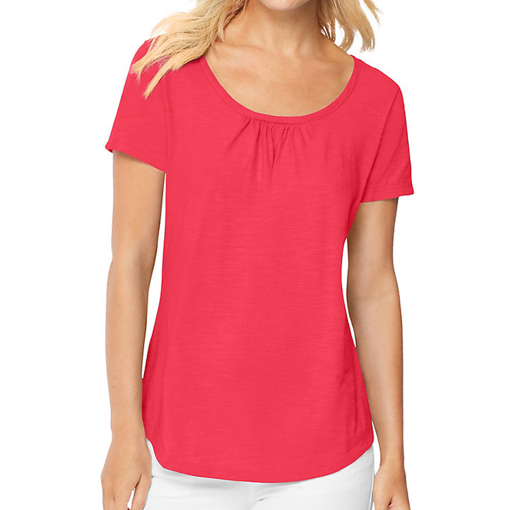 hanes womens short sleeve shirred scoop neck tee shirt. Black Bedroom Furniture Sets. Home Design Ideas