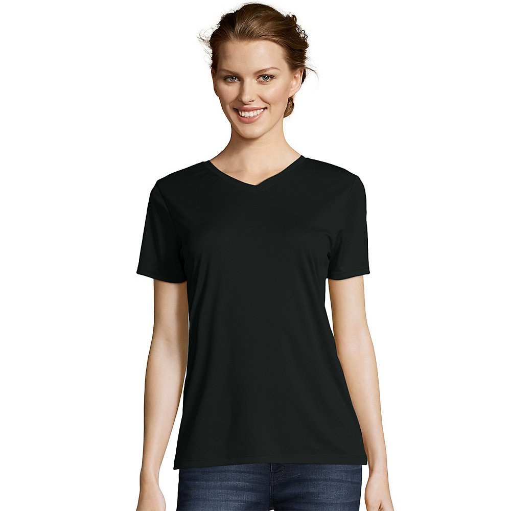 Hanes womens cool dri v neck t shirt 483v from V neck black t shirt