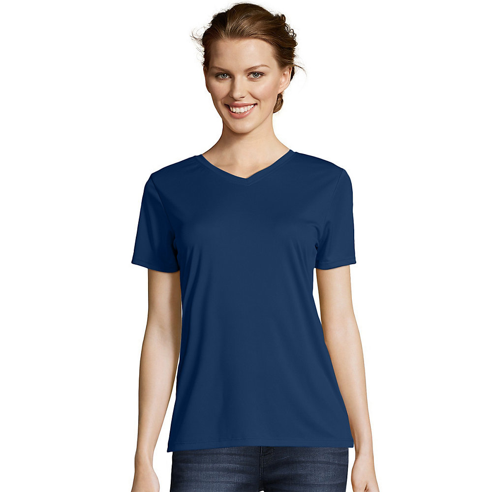 Hanes womens cool dri v neck t shirt 483v from for Navy blue color shirt