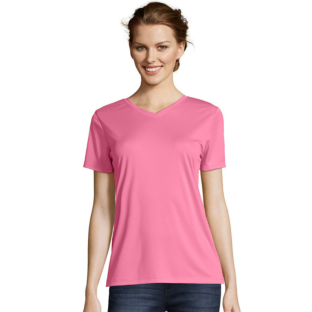 Hanes Womens Cool DRI V-Neck T-Shirt 483V [from $8.97] | Hosiery ...