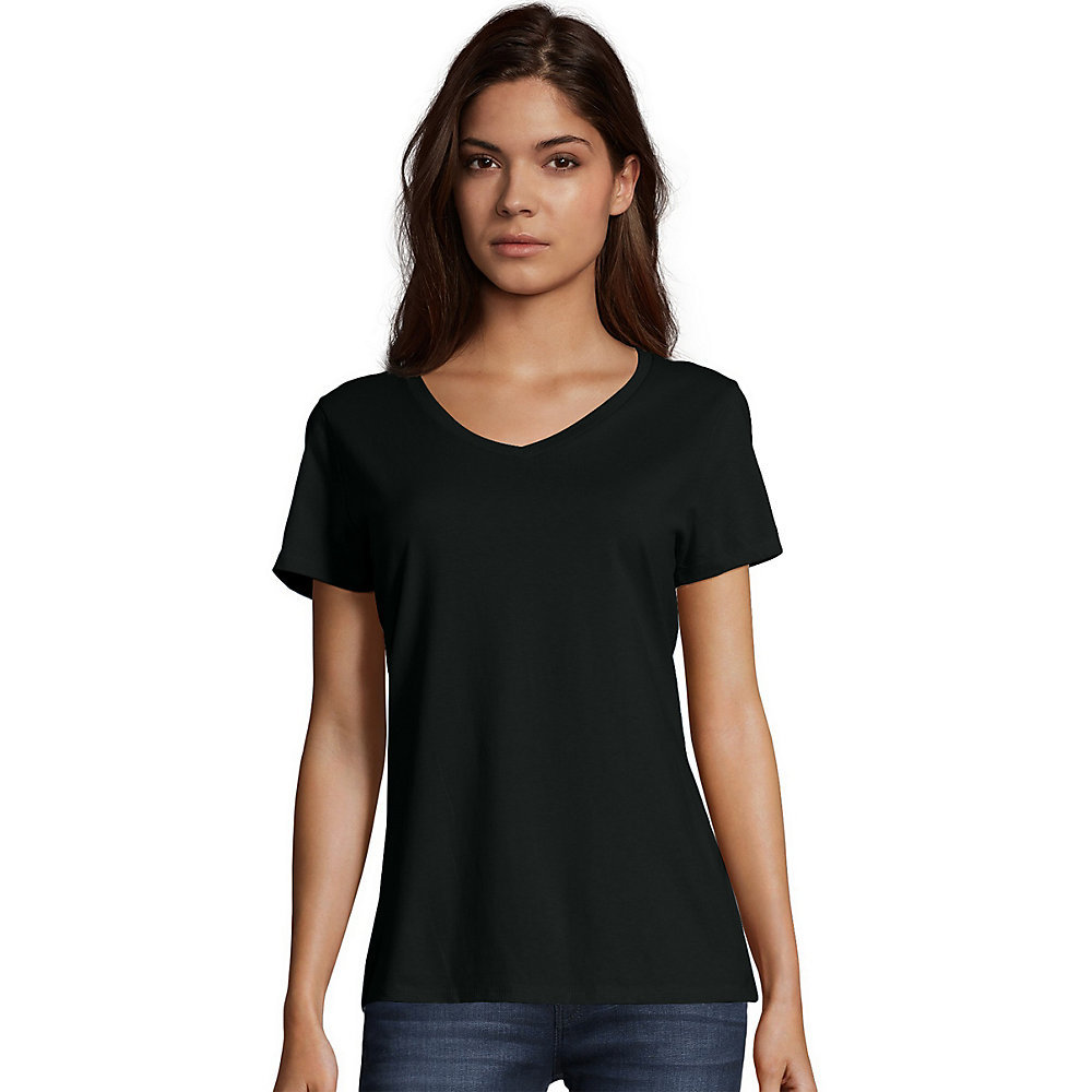 Hanes womens nano t v neck t shirt s04v from V neck black t shirt