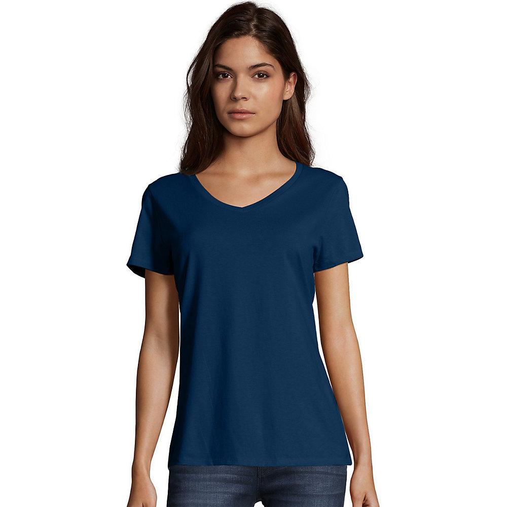 Hanes womens nano t v neck t shirt s04v hosiery for V neck shirt for women