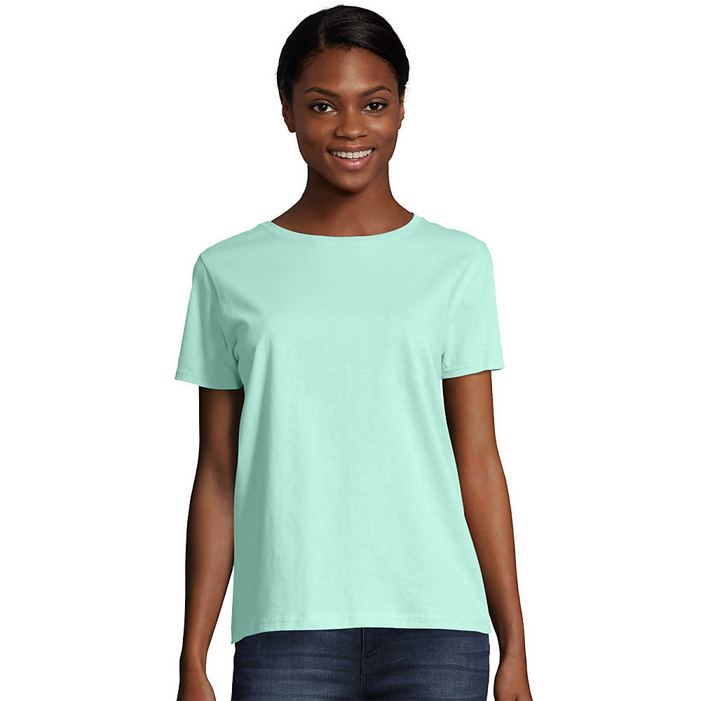 Hanes Womens Relaxed Fit Jersey ComfortSoft Crewneck T-Shirt 5680 ...