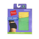 Hanes Womens Cotton Stretch Boy Briefs 2-Pk D49EAS