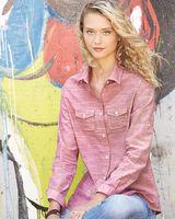 Burnside Women's Textured Solid Long Sleeve Shirt 5247