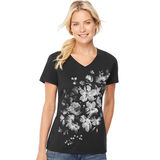 Hanes Women's Bleach Floral Cascade Short-Sleeve V-Neck Graphic Tee GT9337 Y06598