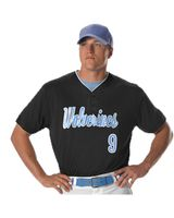 Alleson Athletic Two Button Mesh Baseball Jersey With Piping A00022