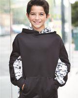 Badger Digital Camo Youth Colorblock Performance Fleece Hooded Sweatshirt 2464