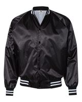 Augusta Sportswear Satin Baseball Jacket Striped Trim 3610