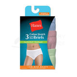 Hanes Womens Cotton Stretch Low Rise Brief with ComfortSoft Waistband 3-Pk ET39AS