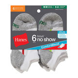 Hanes Boys No-Show Comfort Blend Assorted White Socks 6-Pk 434/6