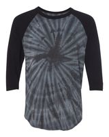 Dyenomite Tie-Dyed Three-Quarter Sleeve Raglan T-Shirt 660VR