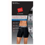 Hanes Ultimate Men's Comfort Flex Fit Ultra Soft Cotton/Modal Boxer Briefs Black/Grey Assorted 4-Pack UFBBB4