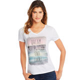 Hanes Women's Dream of Places Far Away Short Sleeve V-Neck Tee GT9337 Y06922