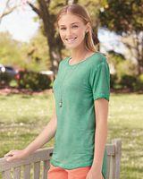 J. America Women's Oasis Wash Drop Tail T-Shirt 8127