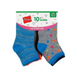 Hanes Girls' Fashion Ankle Socks 10-Pack HGFA10