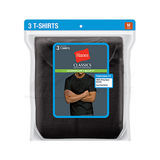 Hanes Classics Men's Traditional Fit ComfortSoft TAGLESS Dyed Black Crewneck Undershirt 3-Pk 7873B3