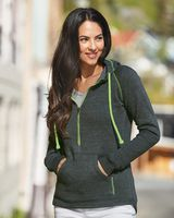 J. America Women's Half-Zip Triblend Hooded Pullover Sweatshirt 8876