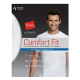 Hanes Ultimate Men's Comfort Fit White Crewneck Undershirt 4-Pack UFT1W4