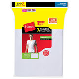 Hanes Mens White TAGLESS ComfortSoft V-Neck Undershirt 7-Pk (Includes 1 Free Bonus Undershirt) 777VG7