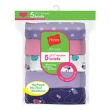 Hanes Ultimate Girls' Stretchy Comfy Cotton Briefs 5-Pack GUCSBR