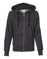 J. America Women's Glitter French Terry Hooded Full-Zip Sweatshirt 8868