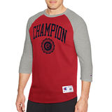 Champion Men's Heritage Baseball Slub Tee, Collegiate Logo With Crest T1234
