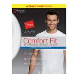 Hanes Ultimate® Men's Comfort Fit White Crewneck Undershirt 5-Pack (4 + 1 Free Bonus Pack) UFT15W