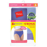 Hanes Cool Comfort Cotton Womens Hi-Cut Panties 6-Pack P843
