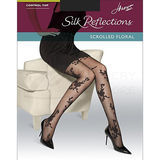 Hanes Silk Reflections Scrolled Floral Control Top Sheer Toe Pantyhose 0B421