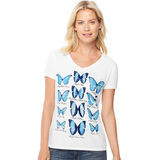 Hanes Women's Butterfly Collection Short-Sleeve V-Neck Graphic Tee GT9337 Y06594