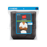 Hanes Classics Men's Traditional Fit ComfortSoft TAGLESS Dyed Black V-Neck Undershirt 3-Pk 7883B3
