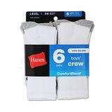 Hanes Boys Crew ComfortBlend Assorted White Socks 6-Pk 431/6