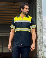 Red Kap Hi-Visibility Colorblock Ripstop Short Sleeve Work Shirt - TALL SY80L