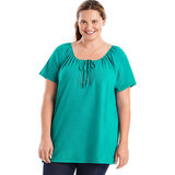 Just My Size Short-Sleeve Slub-Textured Cotton Women's Tunic with Crochet Trim & Tie OJ250