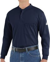 Bulwark Long Sleeve Tagless Henley Shirt - Long Sizes SEL2L