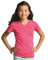 LAT Girls' V-Neck Fine Jersey T-Shirt 2607