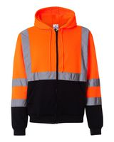 ML Kishigo Hi-Vis Hooded Full-Zip Sweatshirt JS102-103