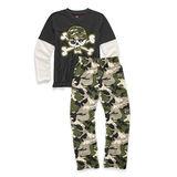 Hanes Boys Sleepwear 2-Piece Pajama Set, Camo Skull Print 6019E