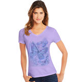 Hanes Women's Big Butterfly Impression Short Sleeve V-Neck Tee GT9337 Y06923