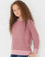 Rabbit Skins - Youth Harborside Melange French Terry Long Sleeve with Elbow Patches - 2279