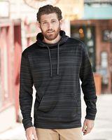 J. America Odyssey Striped Performance Fleece Hooded Pullover Sweatshirt 8661