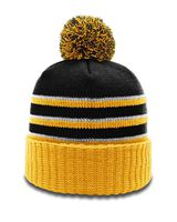 Richardson Stripe Pom Beanie With Cuff 134