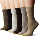 Gold Toe Womens Ribbed Crew Socks, 6-Pack